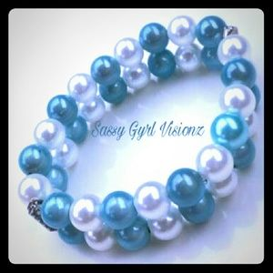 Beautiful blue and white beaded bracelets